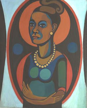 "Faith Ringgold, ""Early Works #25: Self-Portrait,"" 1965, oil on canvas, 50 x 40 inches. Courtesy of Faith Ringgold and ACA Galleries, New York. © Faith Ringgold 1965."