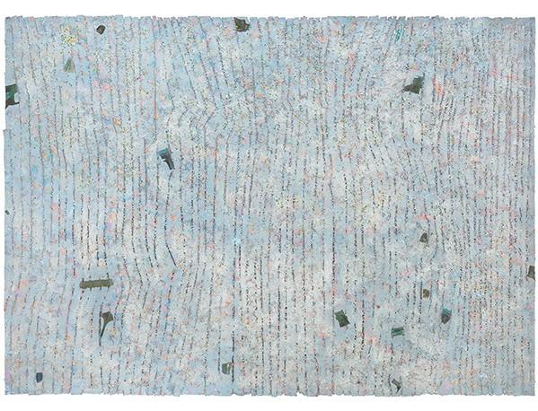 "Howardena Pindell ""Memory: Future, "" 1980-1981 Mixed media on canvas 83 x 116 1/2 inches Courtesy Garth Greenan Gallery"
