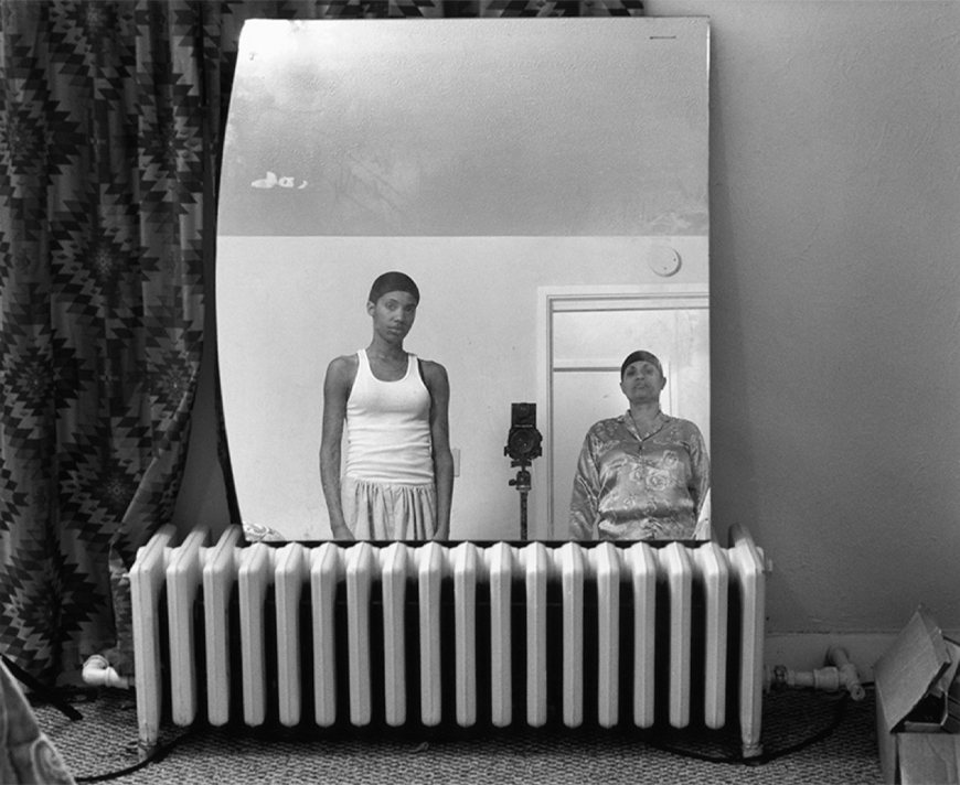 LaToya Ruby Frazier (American, born 1982), Mom Making a Portrait of Me, 2008; silver gelatin print, 16 x 20 inches. Purchased with support from Brooke Jackson Edmonds in support of the 15 x 15 Acquisitions Initiative, 2011.6-8